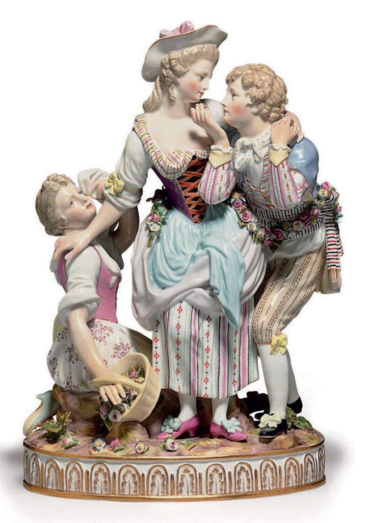 A MEISSEN PORCELAIN AMOROUS FIGURE GROUP, 'THE DECISIVE