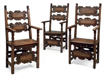 A Set Of Three Italian Bone Inlaid Walnut Chairs 16th Century And Later Christie 39 S