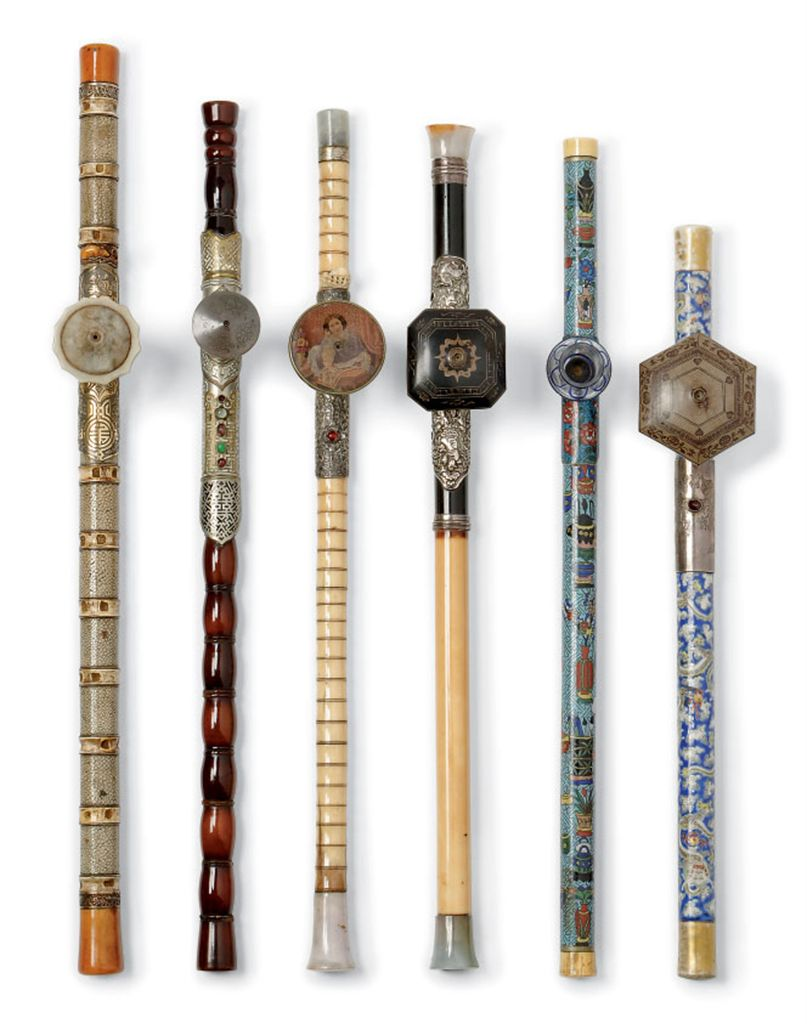 six chinese opium pipes 19th century christies