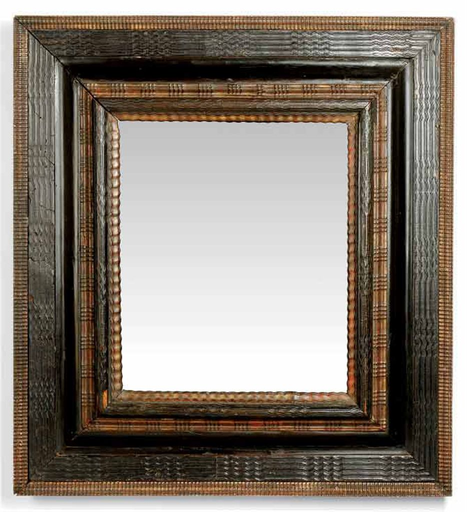 A Dutch Ripple Moulded Ebonised Wood Frame Early 18th