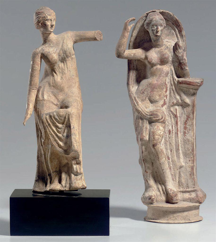 TWO GREEK TERRACOTTA APHRODITES , HELLENISTIC PERIOD ...