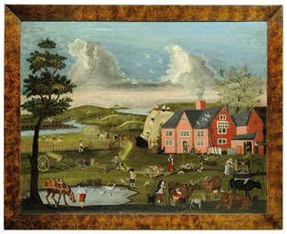 A Naive Painting Of Figures In A Landscape Possibly