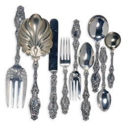 An Extensive American Silver Flatware Service In The Lily