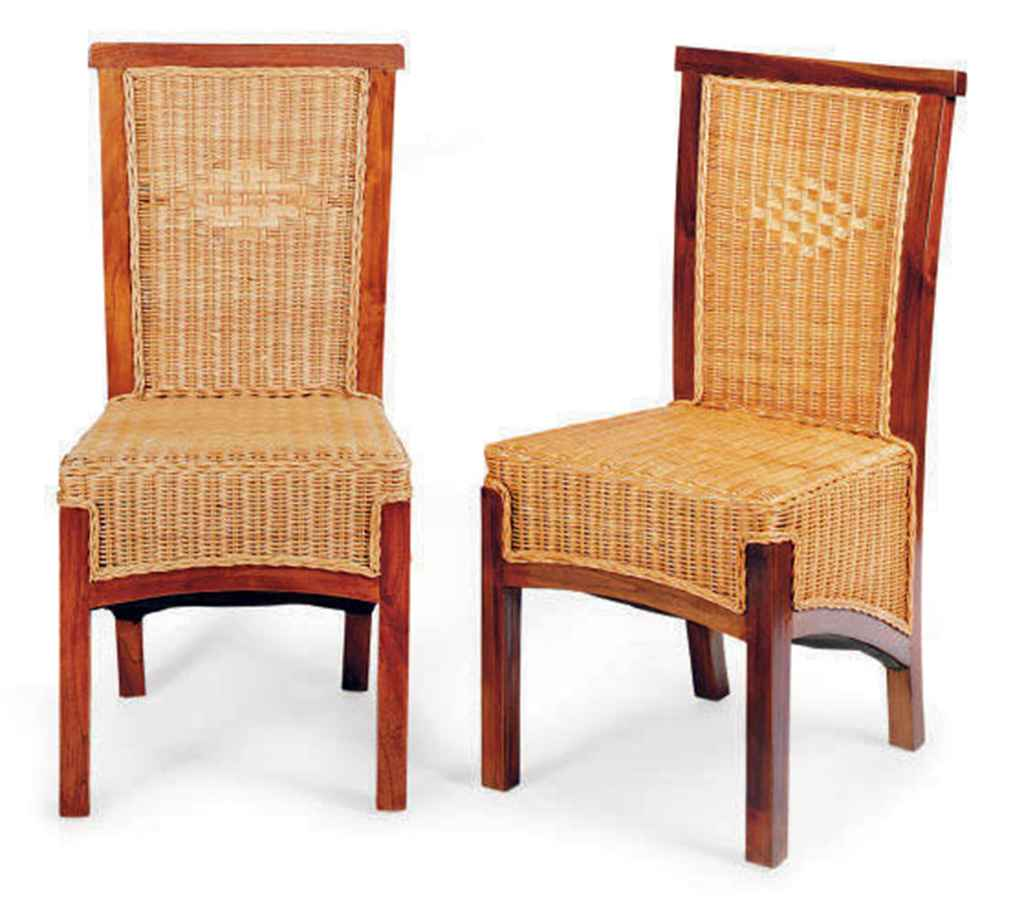 A set of eight indonesian hardwood and wicker dining for Modern wicker dining chairs