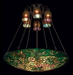 Tiffany Studios An Alamander Leaded Glass And Bronze