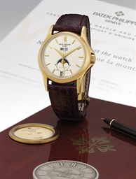 PATEK PHILIPPE REF 5125 YELLOW GOLD AUTOMATIC ANNUAL CALENDAR WRISTWATCH WITH 24 HOURS AND