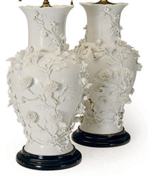 A Pair Of Chinese Blanc De Chine Style Large Vases Mounted