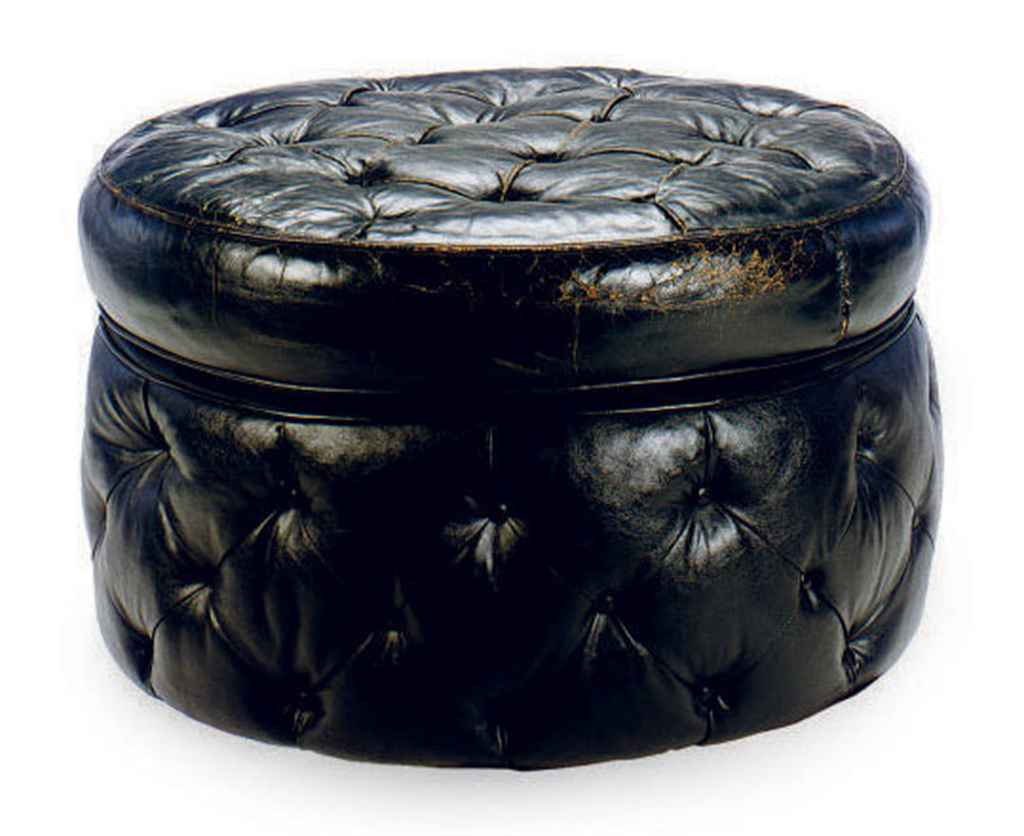 a button tufted black leather upholstered circular pouf late 20th century christie 39 s. Black Bedroom Furniture Sets. Home Design Ideas