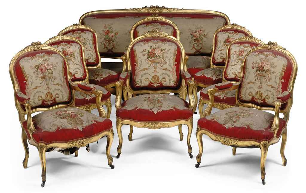 a french giltwood and aubusson salon suite of louis xv style late 19th century christie 39 s. Black Bedroom Furniture Sets. Home Design Ideas