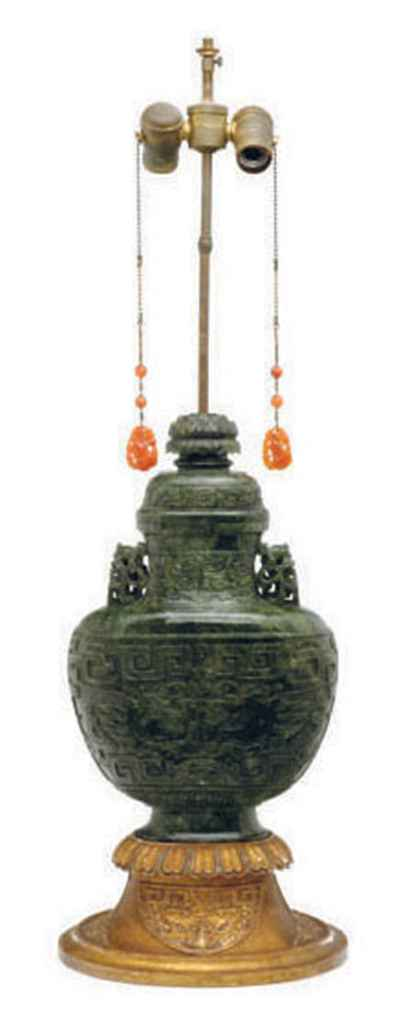 18822efc86e a large chinese hardstone censer and cover mounted as a lamp 20th cent d5405486g.jpg