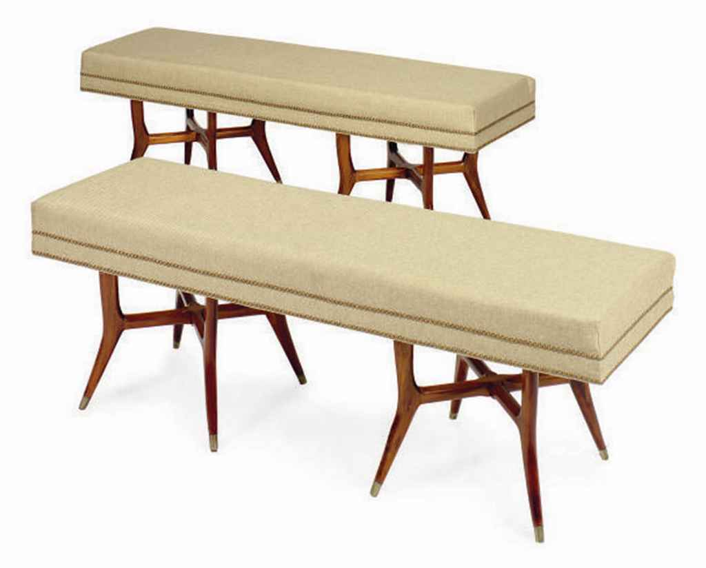 A pair of fruitwood close nail upholstered long benches 20th century christie 39 s Long upholstered bench