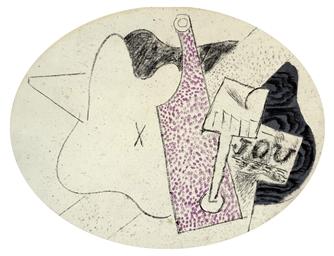 pablo picasso 1881 1973 nature morte 224 la guitare bouteille verre de vin et journal