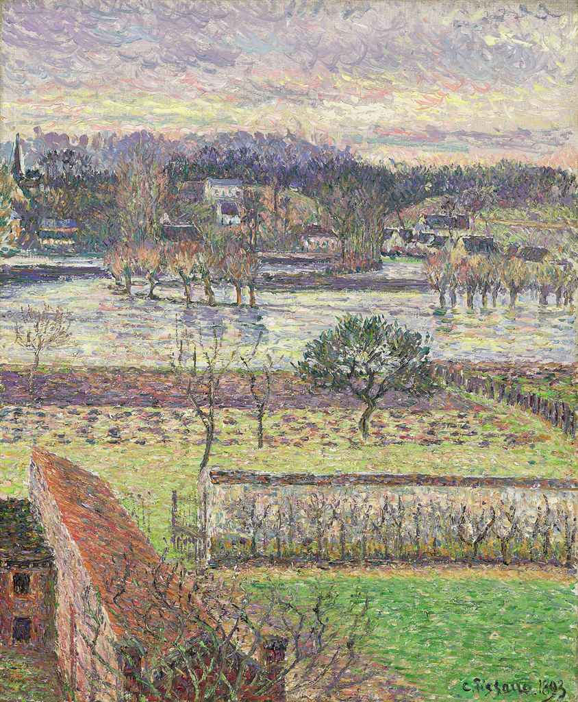 camille pissarro 1830 1903 vue de ma fen tre inondation effet de soir ragny christie 39 s. Black Bedroom Furniture Sets. Home Design Ideas