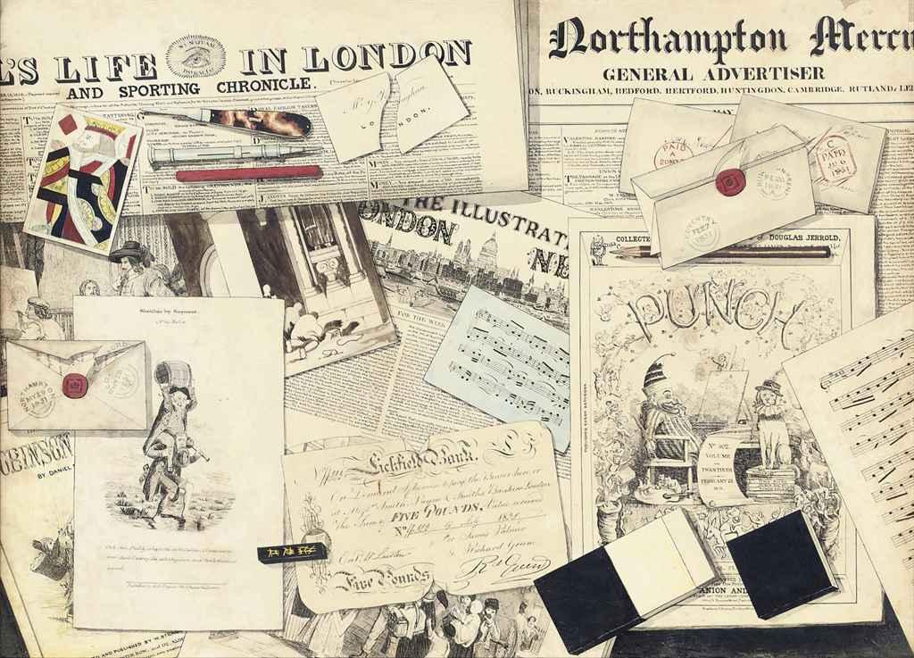 English In Italian: English School, 19th Century , Trompe L'oeil Of Newspaper