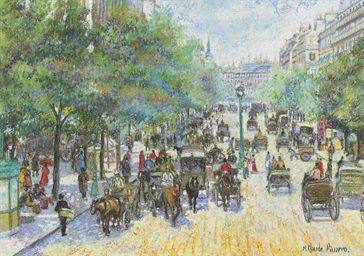 hughes claude pissarro b 1935 les fiacres du boulevard montmartre christie 39 s. Black Bedroom Furniture Sets. Home Design Ideas