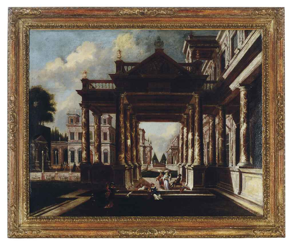 Italian school 18th century elegant figures on a for Use terrace in a sentence