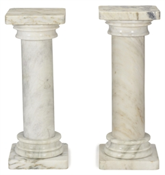 A Pair Of White Marble Columns Late 20th Century 2