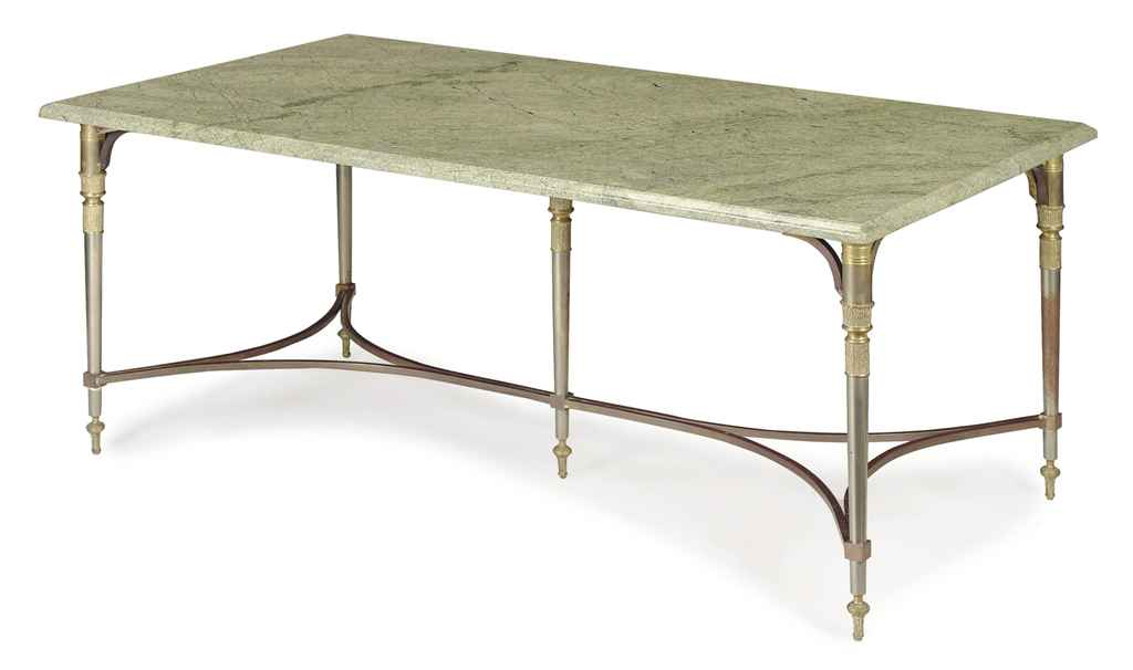A steel and brass marble top center table late 20th for Table th center