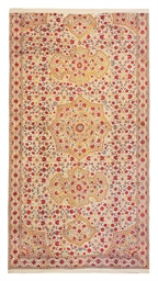 A Mughal Floral Embroidered Summer Carpet Mughal India