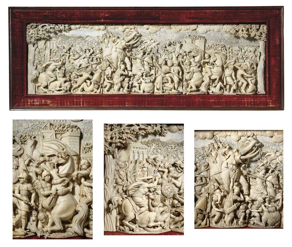 A large german carved ivory relief panel last quarter
