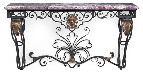 A french fer forge and parcel gilt console table late for Table demi lune fer forge