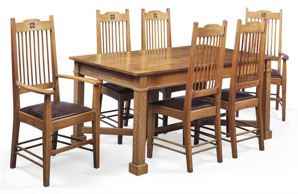 An arts crafts inlaid oak dining room suite circa 1910 christie 39 s - Arts and crafts dining room furniture ...