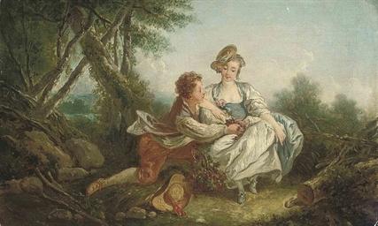 Follower Of Francois Boucher A Shepherd And Shepherdess