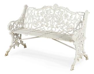 A White Painted Cast Iron Garden Bench Circa 1800