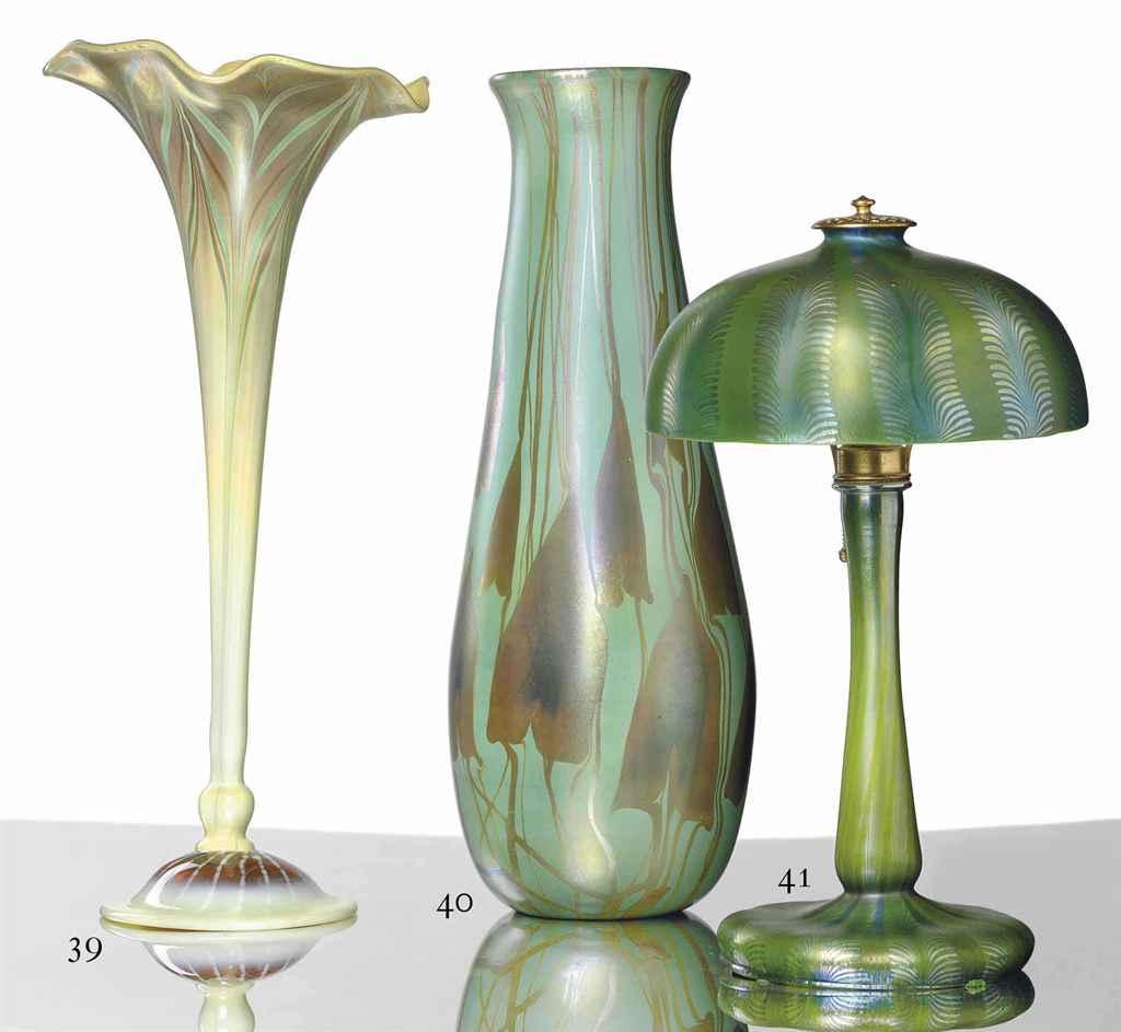 Tiffany Studios A Decorated Favrile Glass Vase Circa