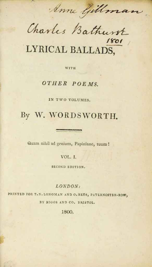 WORDSWORTH, William (1770-1850) and Samuel Taylor ...