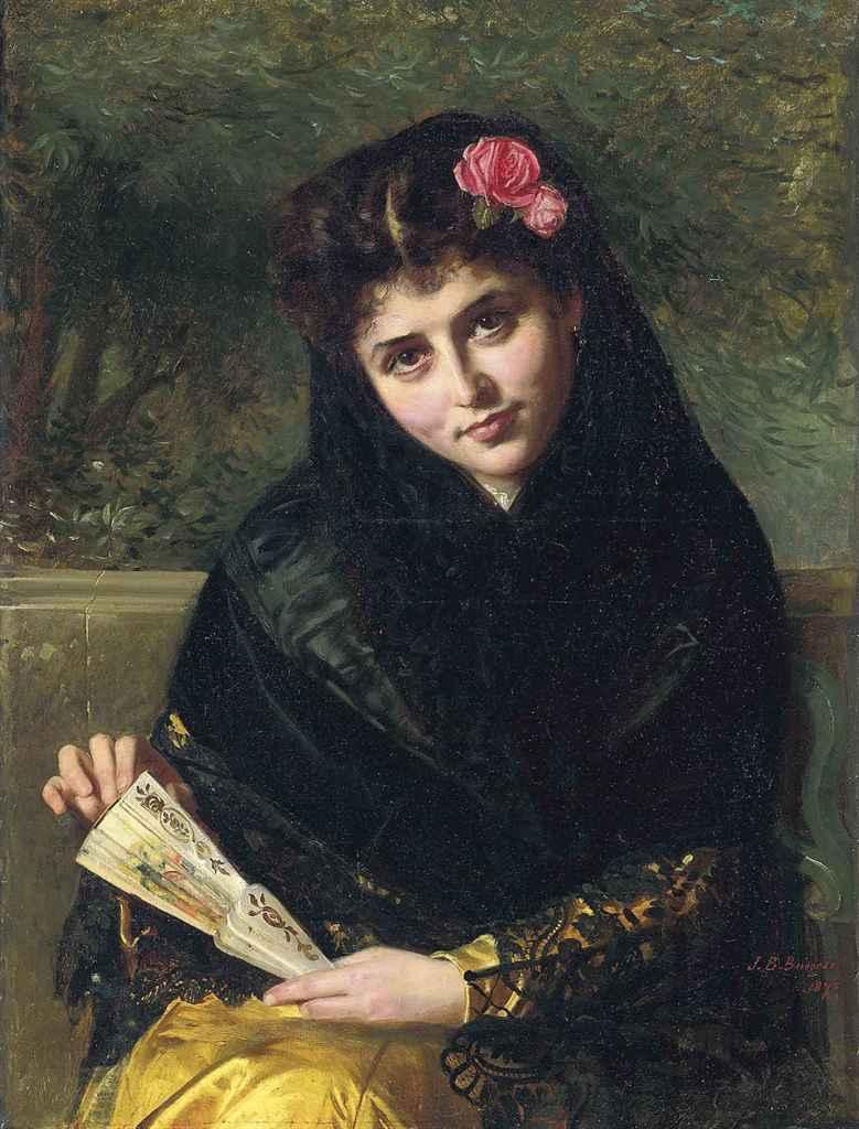 John Bagnold Burgess R A 1830 1897 A Spanish Beauty
