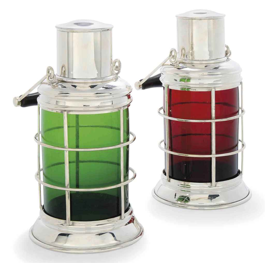 a pair of modern electroplated novelty cocktail shakers in the form of ship 39 s lanterns of. Black Bedroom Furniture Sets. Home Design Ideas
