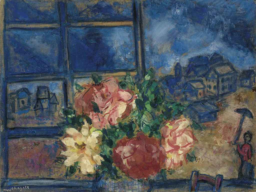 Marc chagall 1887 1985 la fen tre ouverte ou vue de la for Fenetre ouverte