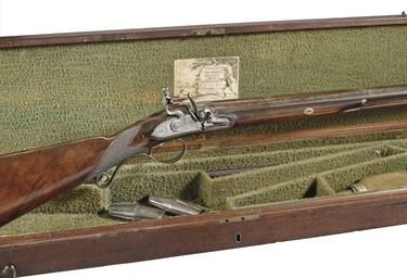 A Cased 12 Bore Single Barrelled Flintlock Sporting Gun