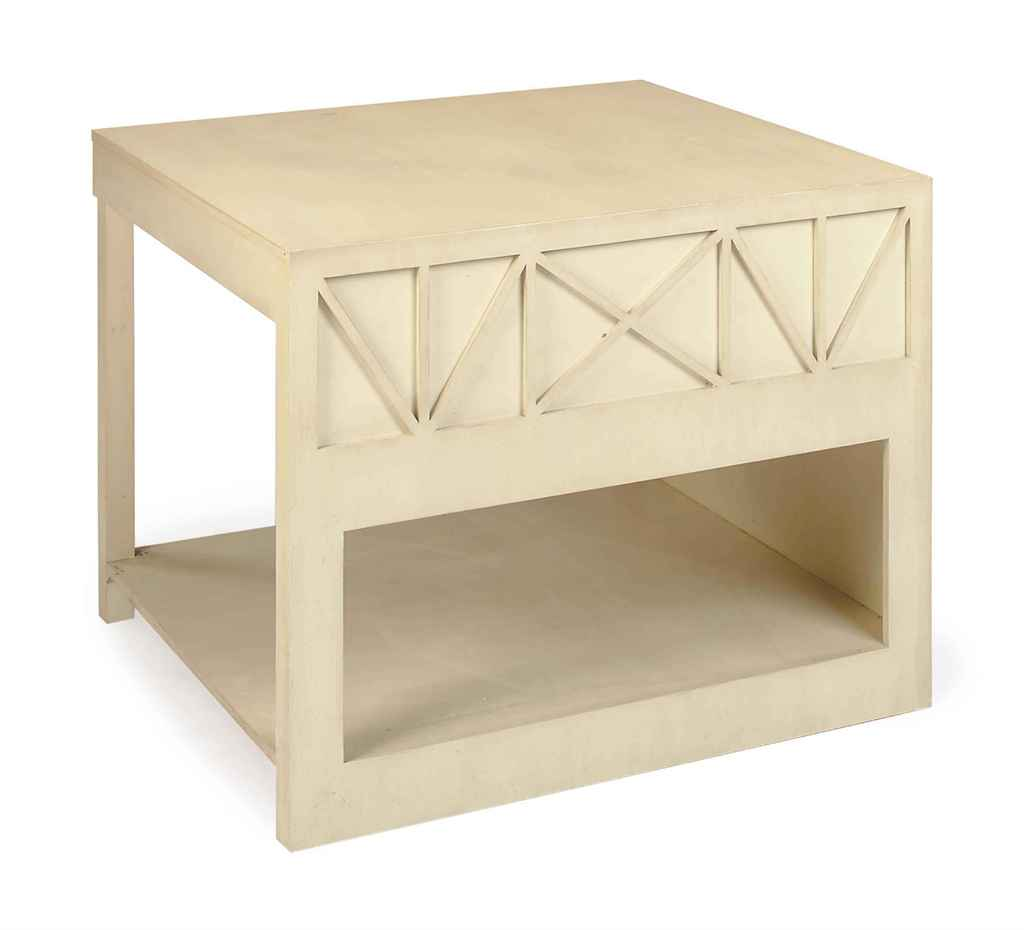 A WHITE-PAINTED OAK SQUARE LOW TABLE,