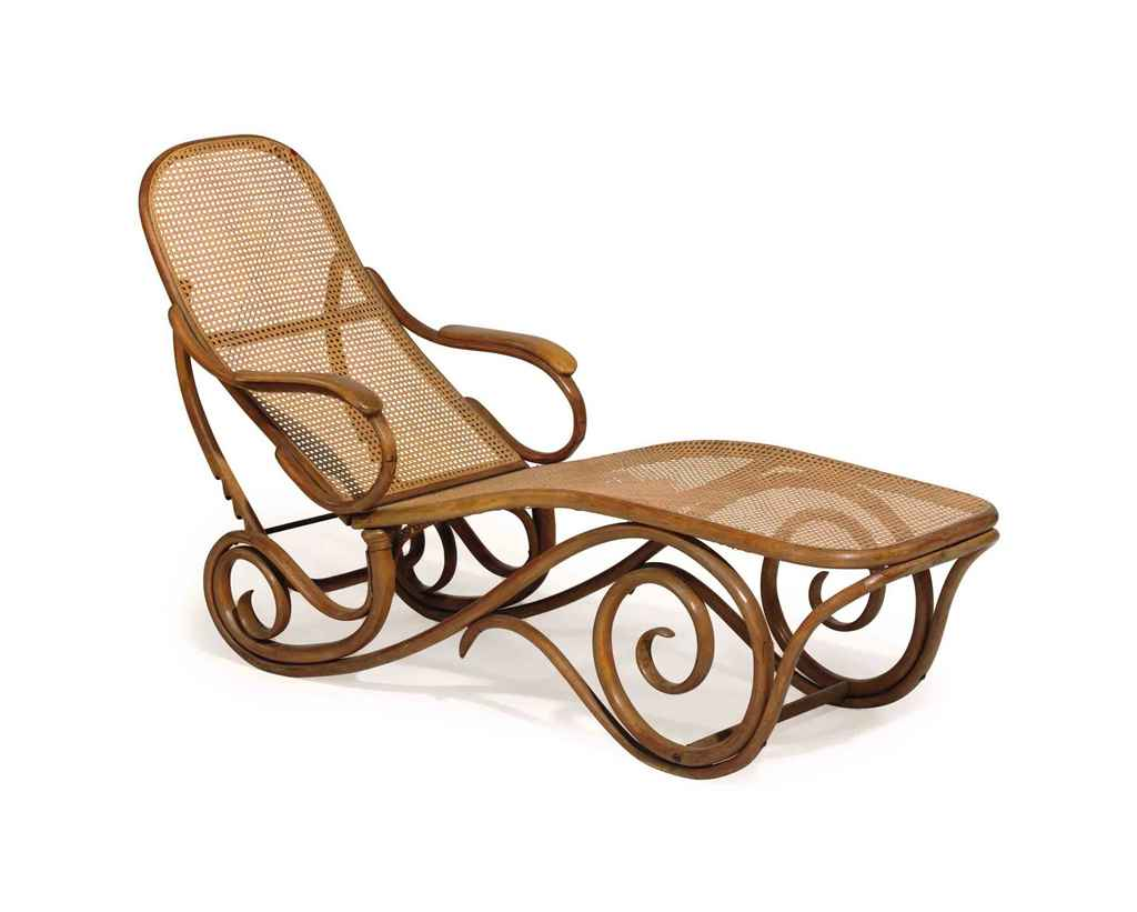 A thonet caned bentwood adjustable chaise lounge christie 39 s for Chaise bentwood