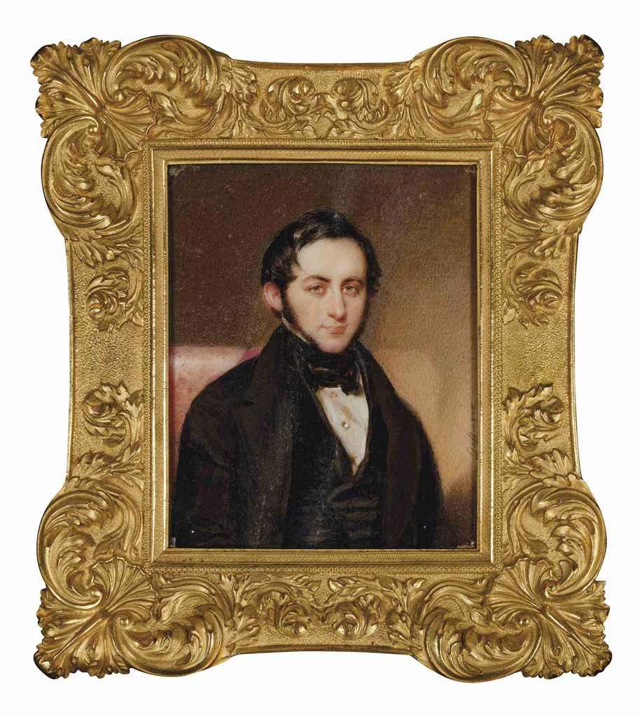 moritz michael daffinger vienne 1790 1849 portrait d 39 homme en costume noir et chemise. Black Bedroom Furniture Sets. Home Design Ideas