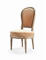 Chaise en cabriolet d 39 epoque louis xvi attribuee a for Chaise medaillon louis xvi
