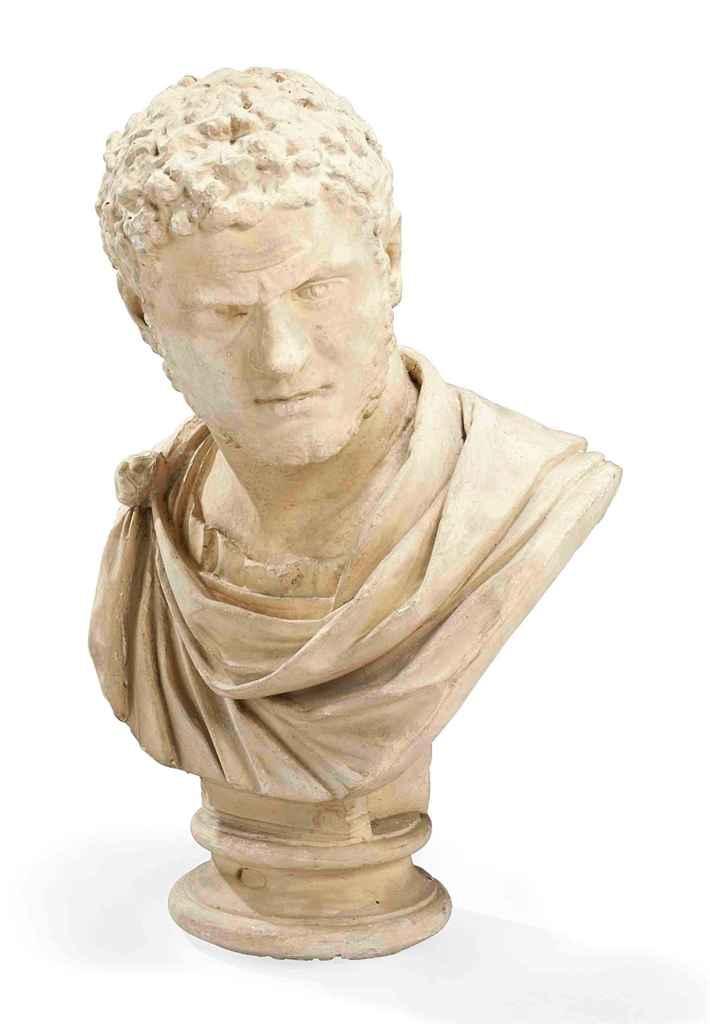 buste en platre representant l 39 empereur romain caracalla d 39 apres l 39 antique france xixeme. Black Bedroom Furniture Sets. Home Design Ideas