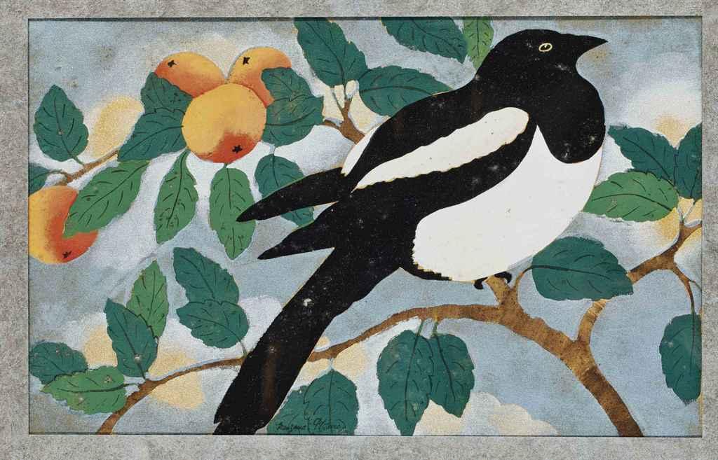 georges manzana pissarro louveciennes 1871 1961 pie sur une branche d 39 arbre fruitier. Black Bedroom Furniture Sets. Home Design Ideas