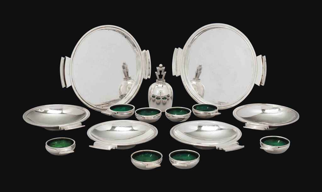 a group of georg jensen silver 39 pyramid 39 pattern tablewares designed by harald nielsen in 1926. Black Bedroom Furniture Sets. Home Design Ideas
