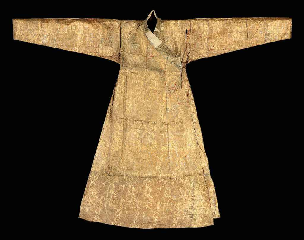 a mongol cloth of gold silk and metal thread robe