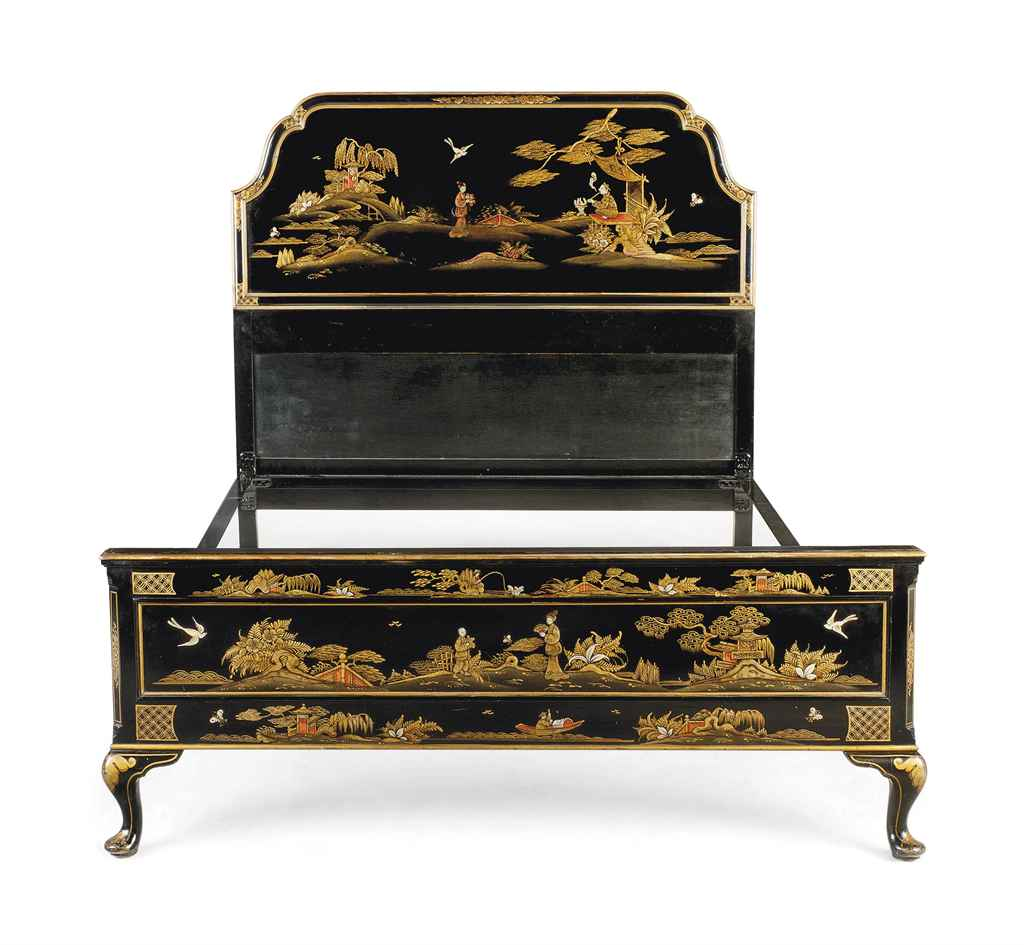 A black and gilt japanned bed of queen anne style early for Queen anne style bed