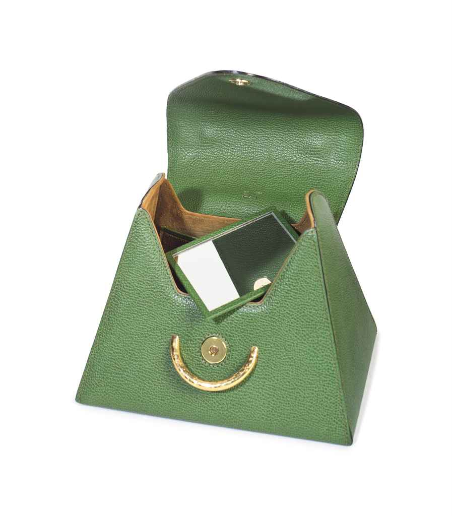 A GRASS GREEN LEATHER TRAPEZOID SHAPE BAG , LABELED