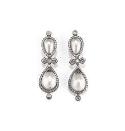 Antichi orecchini in perle naturali a goccia e diamanti for Tiara di diamanti