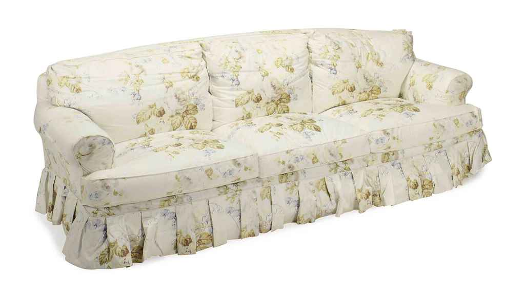 A pair of chintz upholstered three seat sofas 20th for Chintz couch