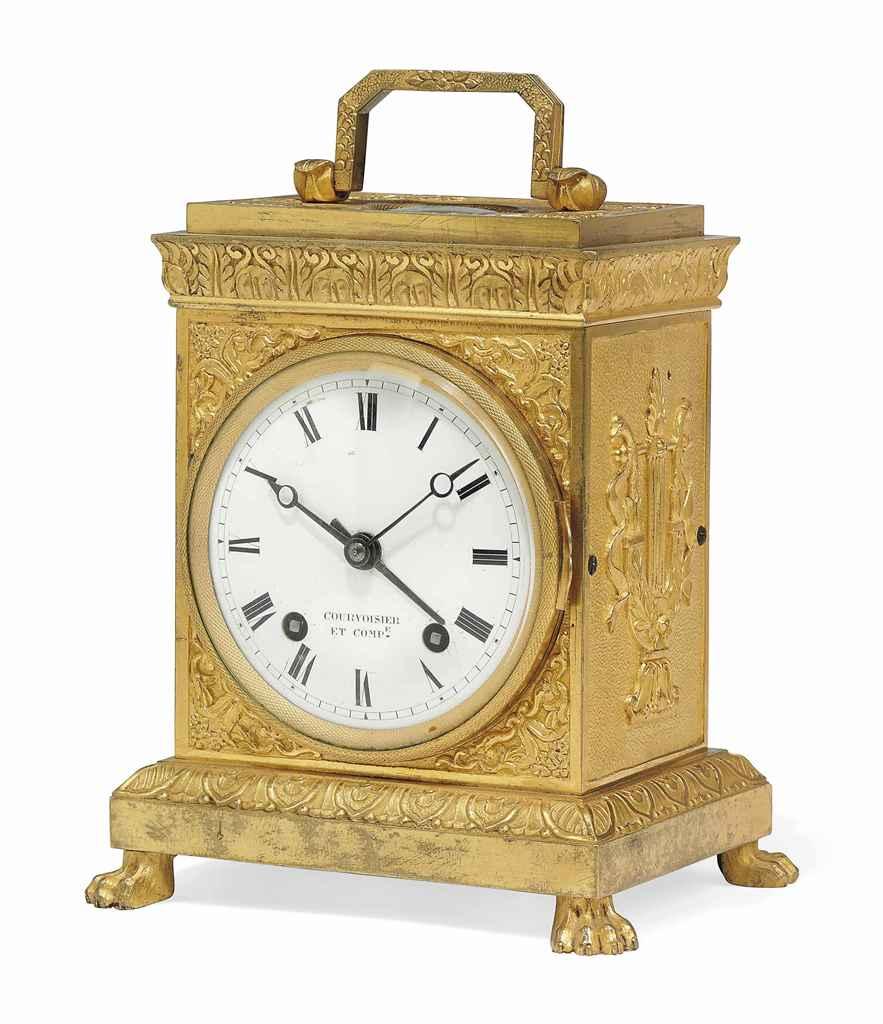 a swiss ormolu grande sonnerie pendule d 39 officier with alarm courvoisier et companie circa. Black Bedroom Furniture Sets. Home Design Ideas
