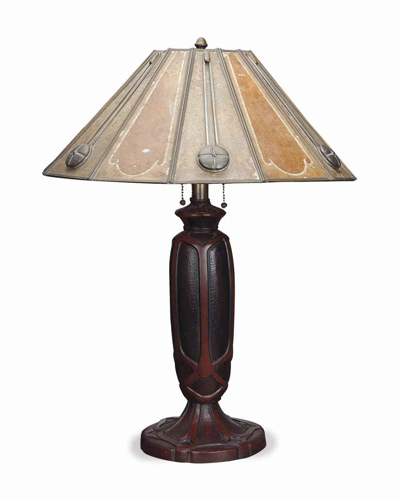 Iron Table Lamps : An american arts and crafts red painted cast iron table
