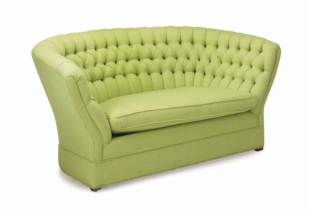 A button tufted green wool upholstered settee late 20th for Button tufted chaise settee green