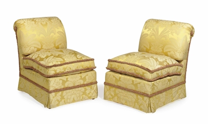 A PAIR OF YELLOW SILK DAMASK-UPHOLSTERED SLIPPER CHAIRS ...